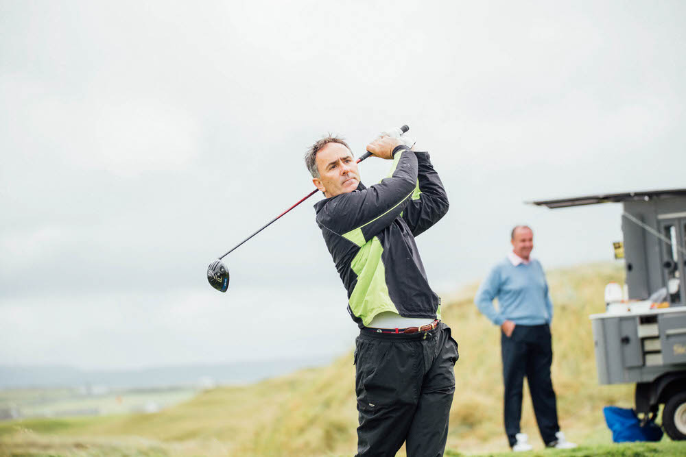 Jody Fanagan in action during the past champions' day at Lahinch in 2017. Picture: Brian Arthur