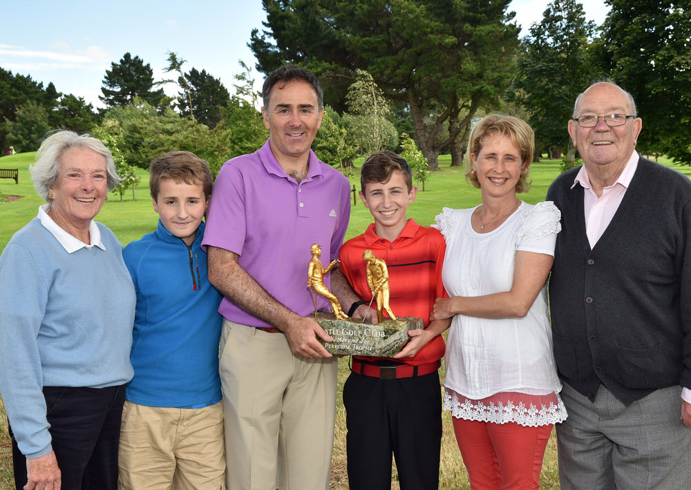 Milltown's Jody Fanagan with his son Harry (16) winners of the 2016 CPL Resources sponsored Father & Son at Castle Golf Club (10/07/2016) pictured with (from left) Rhona Fanagan, Stephen Fanagan, Alison Fanagan and Joe Fanagan. Picture by  Pat Cashman