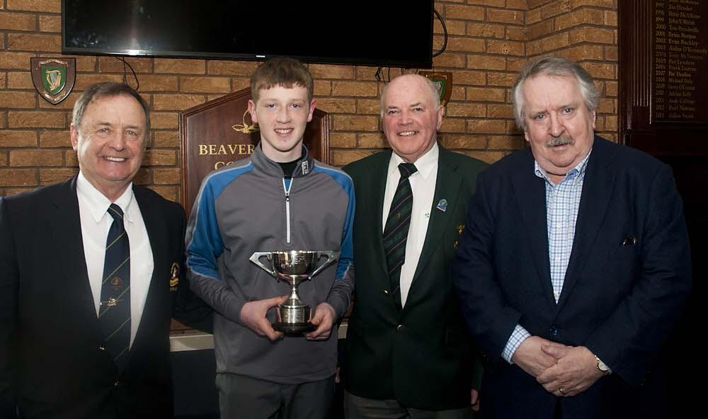 Naas' Jamie Butler with Joe McNamara (Leinster Golf), Alan Costello (Captain,Beaverstown) and sponsor Pat MacCallion (Multi Cargo Ltd). Photo: Ronan Quinlan