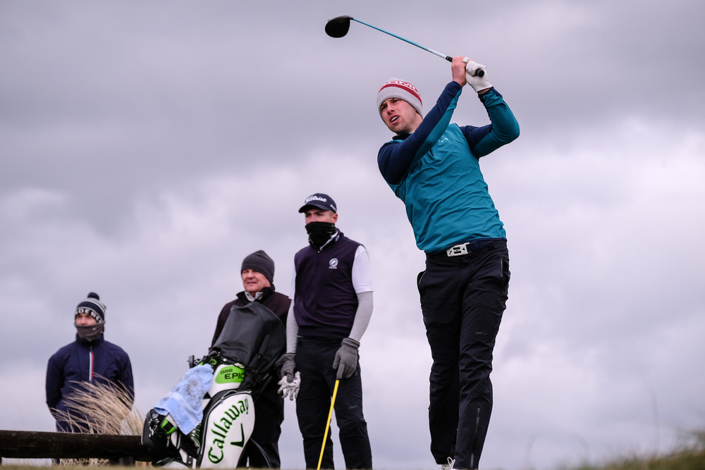 Alex Gleeson (Castle) during the 3rd round of matchplay at the 2018 West of Ireland, in Co Sligo Golf Club, Rosses Point, Sligo, Co Sligo, Ireland. 02/04/2018. Picture: Golffile | Fran Caffrey   All photo usage must carry mandatory copyright credit (� Golffile | Fran Caffrey)