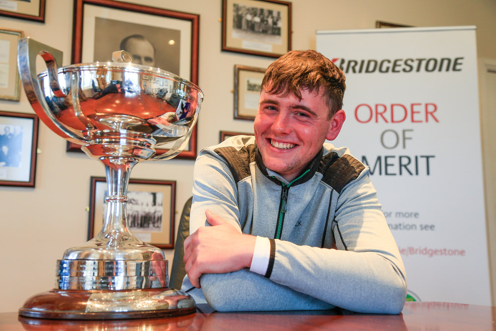 A very happy Robert Brazill with the West of Ireland trophy. Picture: Golffile/GUI