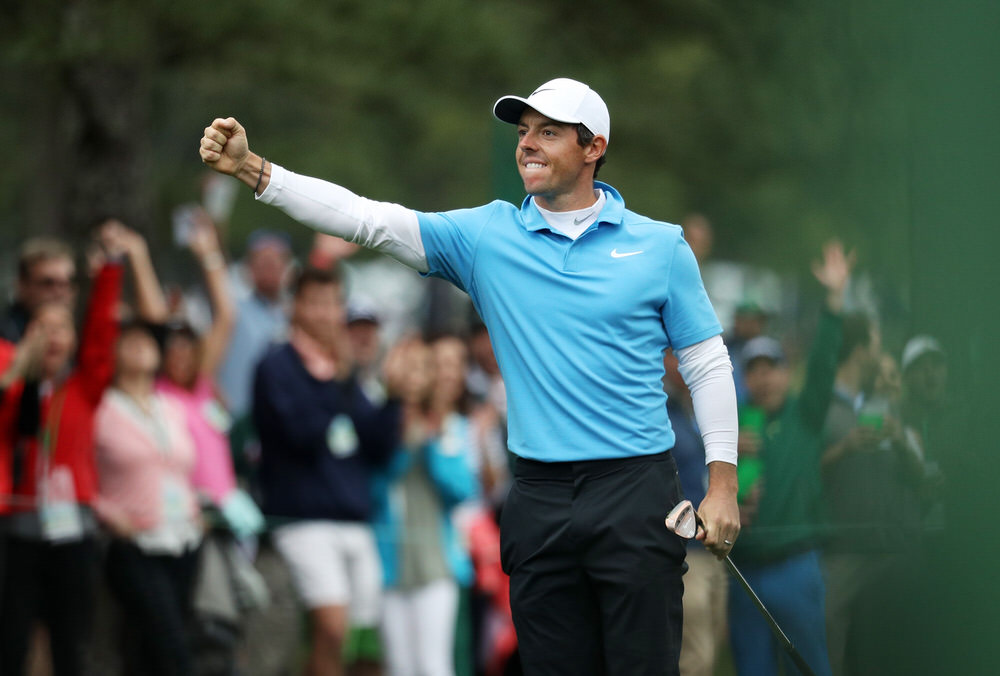 Rory McIlroy celebrates making eagle on the eighth hole at Augusta National. Photo: Patrick Smith/Getty Images