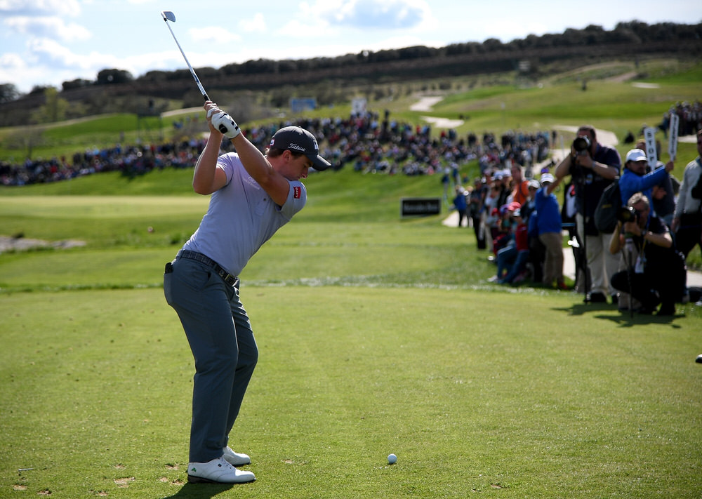 Paul Dunne of Ireland on the 17th tee during the third round of the Open de Espana at Centro Nacional de Golf on 14 April 2018. Photo by Ross Kinnaird/Getty Images