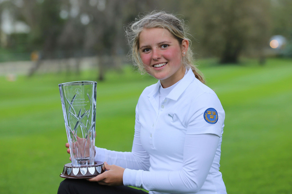 Kajsa Arwefjall (Sweden) after winning the 2018 Irish Girls U18 Open Stroke Play Championship at Roganstown Golf Club. Picture: Jenny Matthews/ cashmanphotography  .ie