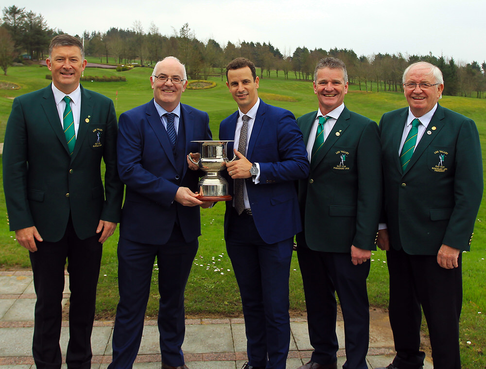 John Morey from Boyle Sports and Rory O'Doherty from ODG Advisory pictured with Lee Valley Officers Brian O'Donovan, Jim O'Callaghan and Jerry Keohane at the launch of the 2018 Senior Scratch Cup. Picture: Niall O'Shea