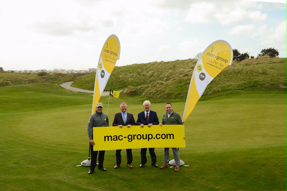 David Higgins, PGA Professional and brand ambassador for mac-group, Paul McKenna, Group CEO of mac-group, Michael McCumiskey, Regional Secretary, PGA in Ireland, Conor Russell, Head PGA Professional, Portmarnock Links.