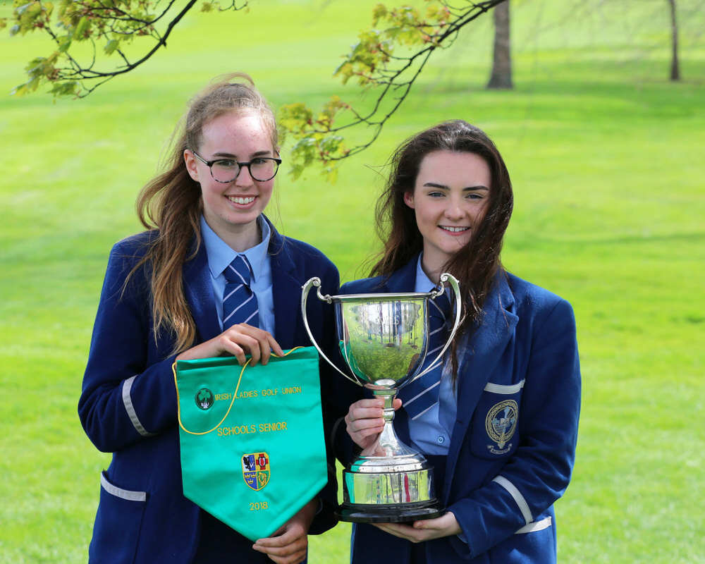 Senior Cup Winners: Olivia McCrystal and Ciara Brennan from Rathmore Grammar in Belfast at the Irish Schools Final at Milltown Golf Club. Picture: Jenny Matthews/ Cashman Photography