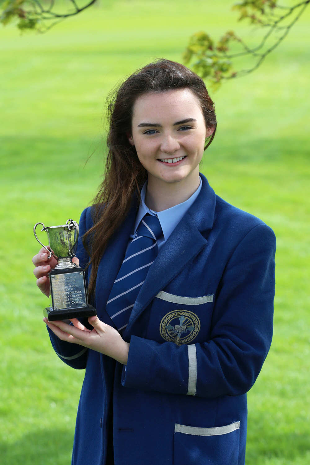 Winner of the Mary Nolan Cup, Best Gross of the Day,  Ciara Brennan from Rathmore Grammar in Belfast at the Irish Schools Final at Milltown Golf Club.
