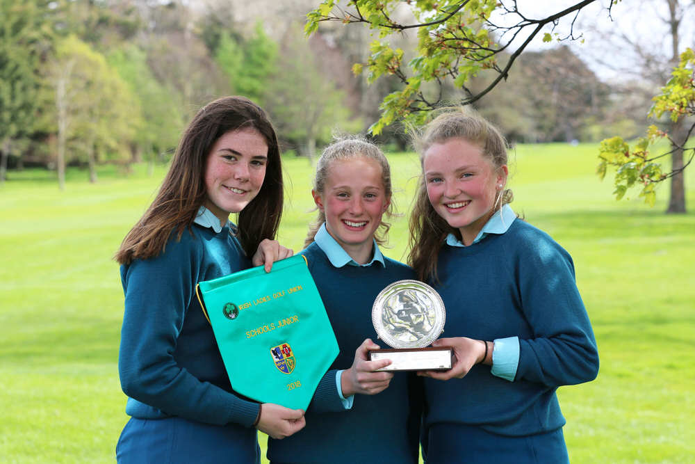 Junior Cup Winners: Caroline McGrath, Sarah O'Brien and Laura Fleming from Mount Anville School at the Irish Schools Final at Milltown Golf Club.image by Jenny Matthews (www.cashmanphotography.ie)