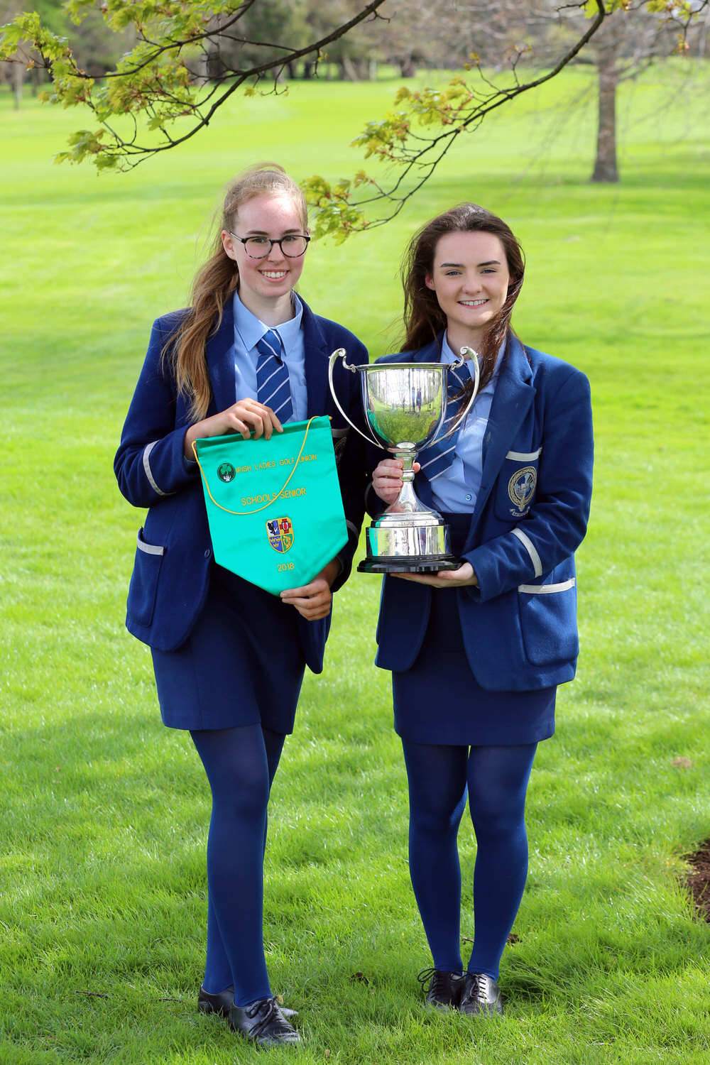 Senior Cup Winners: Olivia McCrystal and Ciara Brennan from Rathmore Grammar in Belfast at the Irish Schools Final at Milltown Golf Club.