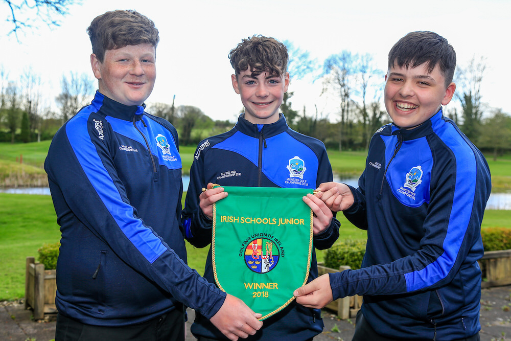 Darragh Crowe, Joe Manning, Chris Lanigan (Ardscoil na Mara) winners of the Irish Junior Schools finals, Monkstown Golf Club. 25/04/2018. Picture: Golffile | Fran Caffrey