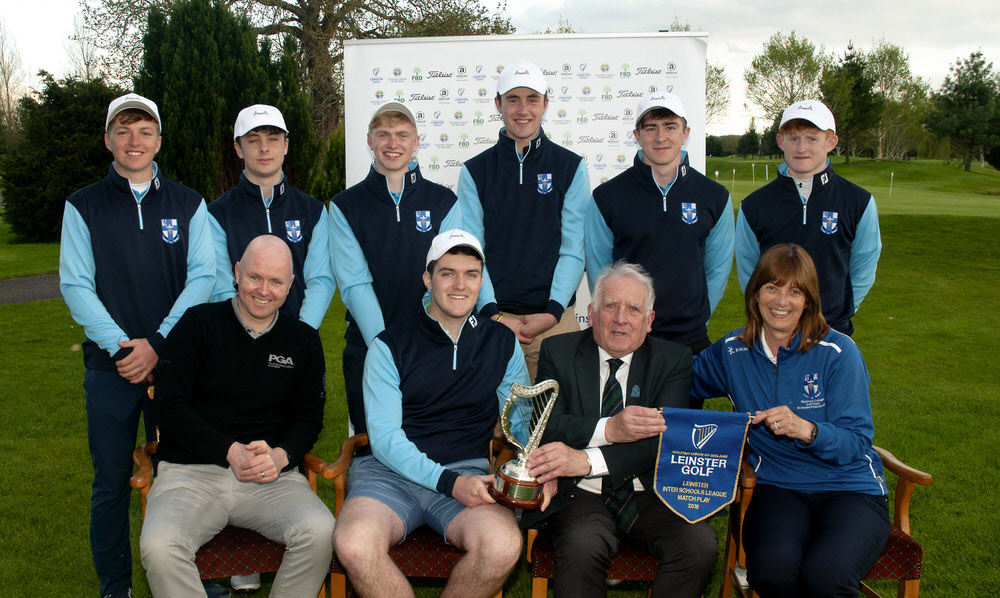 Front: John Ferriter, Chairman of Leinster Golf with Brian Cosgrove, Director of Golf at Killeen and Team Managers, Conor Harte and Andrea Fitzgerald. Back (l to r): Ronan Cowhey, Cathal French, Rory Reid, Robert Abernety, Shane Brosnan and Robert O'Callaghan.Photo: Ronan Quinlan