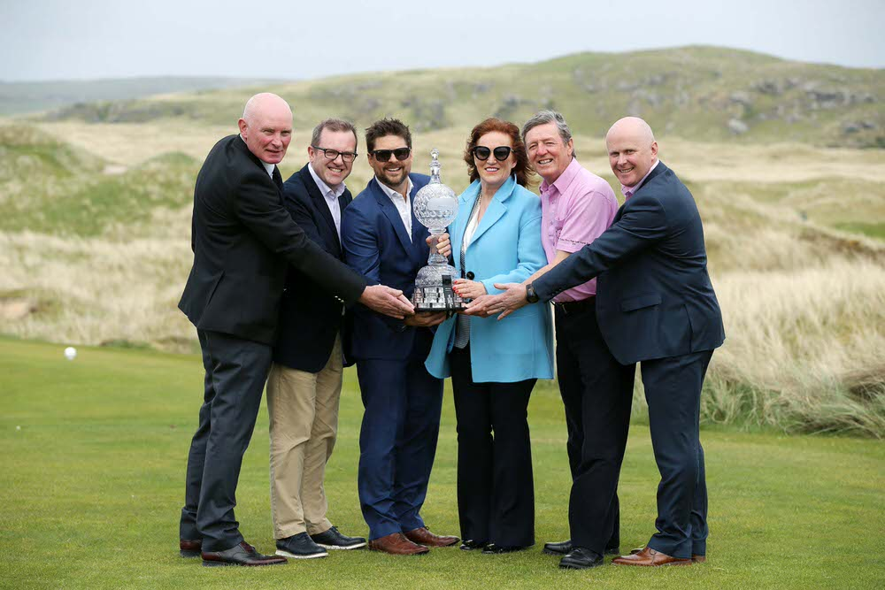 TEEING OFF:John Farren, General Manager of Ballyliffin Golf Club, Barry Funston, Chief Executive of the Rory Foundation, Simon Alliss, the European Tour's Championship Director of the Dubai Duty Free Irish Open, Sinead El Sibai, Senior Vice President of Marketing at Dubai Duty Free, Des Smyth, Dubai Duty Free Irish Open Tournament Ambassador and Martin Donnelly, Business Development Manager of Failte Ireland.  Photo by Kelvin Boyes / Press Eye