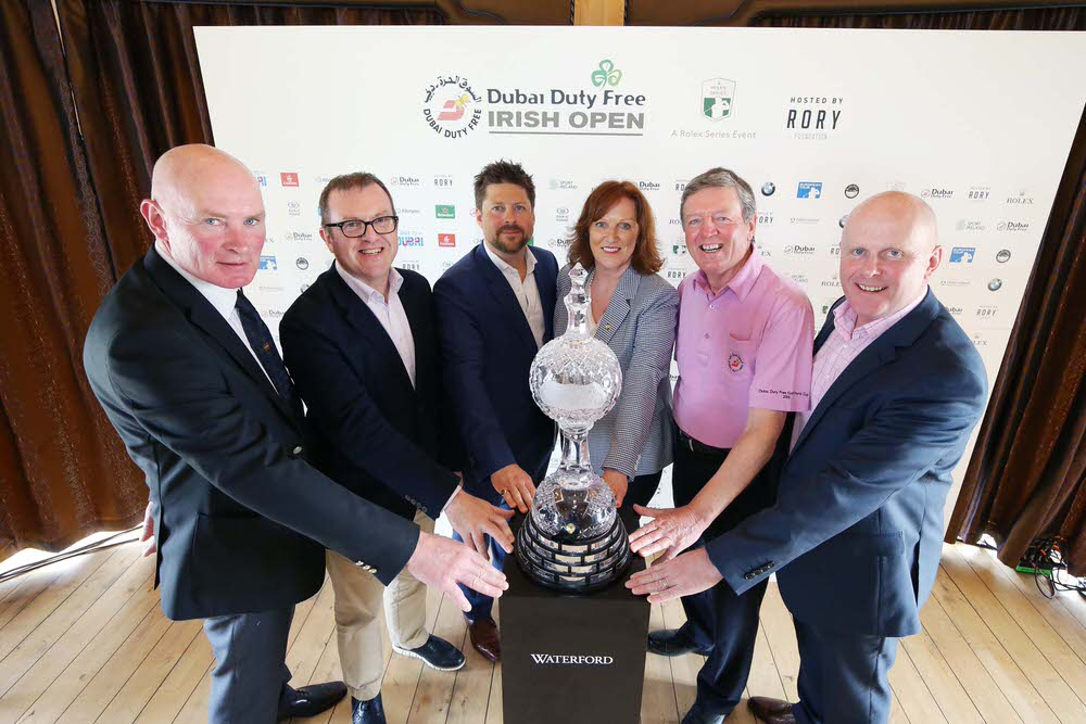 ohn Farren, General Manager of Ballyliffin Golf Club, Barry Funston, Chief Executive of the Rory Foundation, Simon Alliss, the European Tour's Championship Director of the Dubai Duty Free Irish Open, Sinead El Sibai, Senior Vice President of Marketing at Dubai Duty Free, Des Smyth, Dubai Duty Free Irish Open Tournament Ambassador and Martin Donnelly, Business Development Manager of Failte Ireland.   Photo by Kelvin Boyes / Press Eye