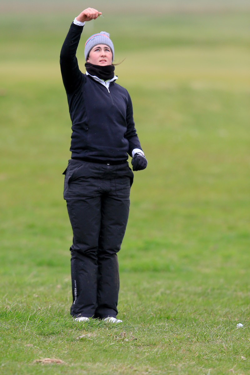 Paula Grant (Lisburn) checks the wind direction during the first round of the Irish Women's Open Strokeplay at Baltray. Picture: Golffile | Fran Caffrey