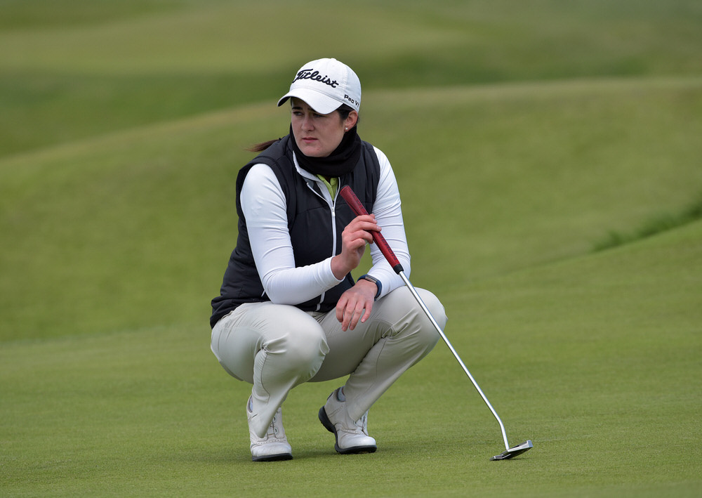 Paula Grant (Lisburn) on the 14th green during the final round of the 2018 Irish Women's Open Strokeplay Championship at Co Louth Golf Club.  Picture by  Pat Cashman