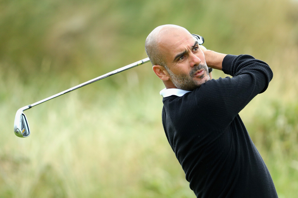 Pep Guariola in action during the Pro-Am of the Dubai Duty Free Irish Open at Portstewart. Photo by Warren Little/Getty Images