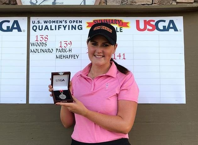 Olivia Mehaffey shows of her Low-Am medal after finishing tied third in the US Women's Open Sectional Qualifier in Arizona on Monday, leaving her out shot outside the qualifying places.
