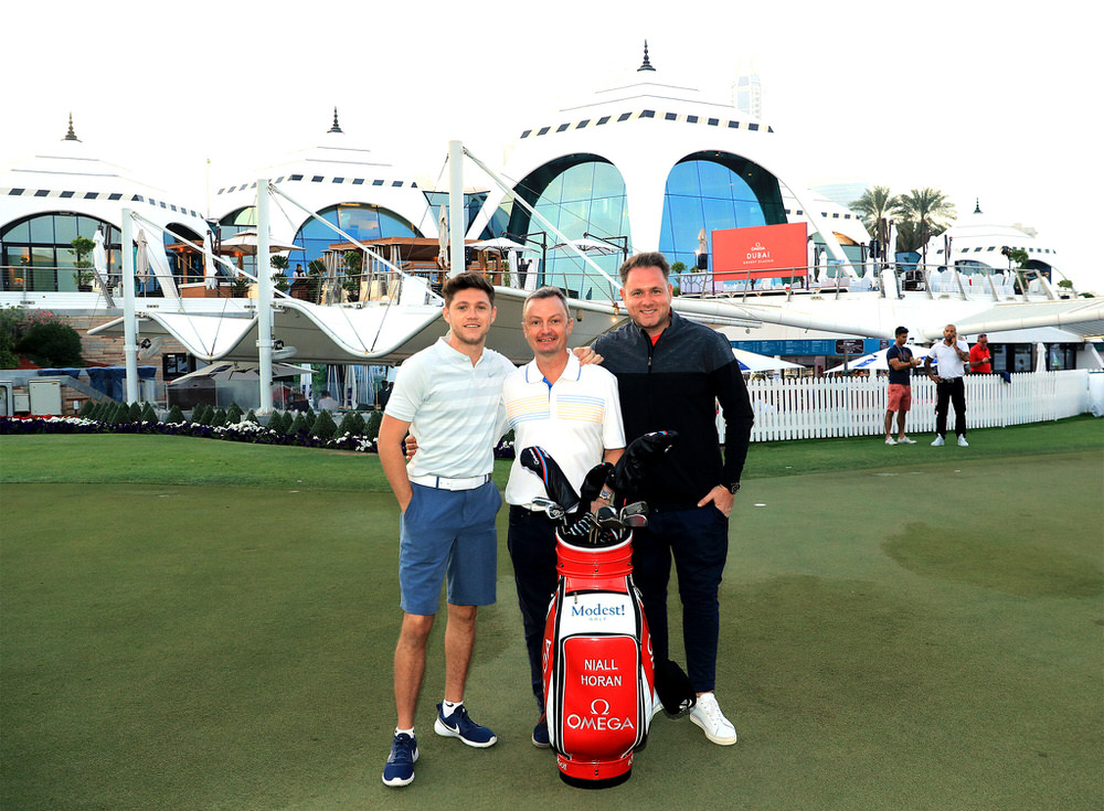 Modest! Golf Management team at the Emirates Golf Club in Dubai earlier this year where several of their players competed. (L-R) Niall Horan, Ian Watts and Mark McDonnell. Photo: Getty Images.