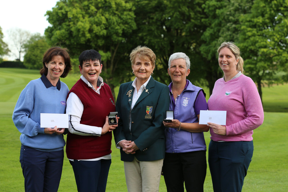 Joanne Scully from Roganstown and Maeve Skelly (Castletroy) who came 2nd and 1st in the Bronze Medal with Pat Doran (Donabate) and Aine O'Connell (Helen's Bay) who came 1st and 2nd in the Silver Medal at the 2018 ILGU Silver & Bronze Medal Final at Headfort Golf Club.  Pictured here with ILGU President Vonnie Noonan. image by Jenny Matthews/ Cashman Photography