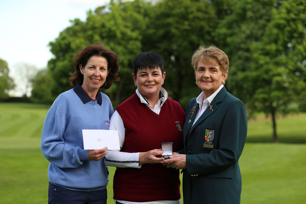 Joanne Scully from Roganstown and Maeve Skelly from Castletroy who came 2nd and 1st in the Bronze Medal at the 2018 ILGU Silver & Bronze Medal Final at Headfort Golf Club.  Pictured here with ILGU President Vonnie Noonan. image by Jenny Matthews/ Cashman Photography