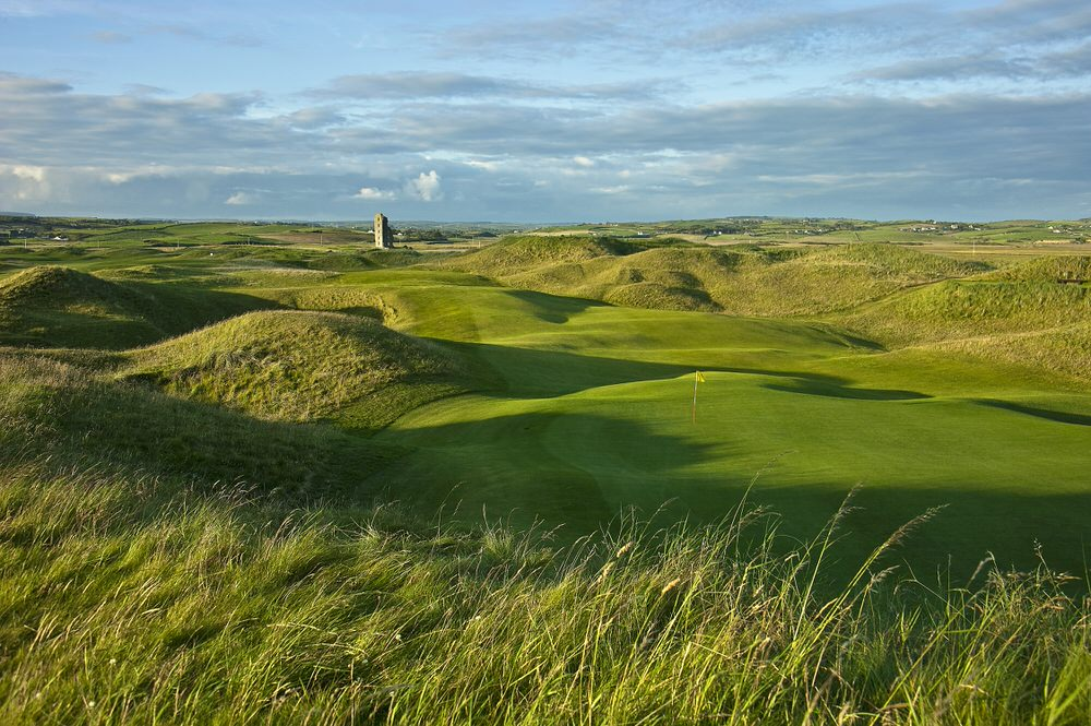 The driveable par-four 13th is likely to have a large grandstand behind the green for the 2019 Irish Open