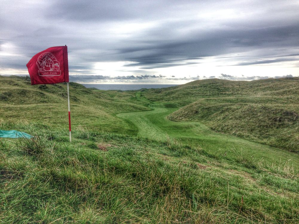 Looking back down the fairway from the top of the mound that protects the par-five fourth, Klondyke, which is likely to be a par-four for the 2019 Dubai Duty Free Irish Open