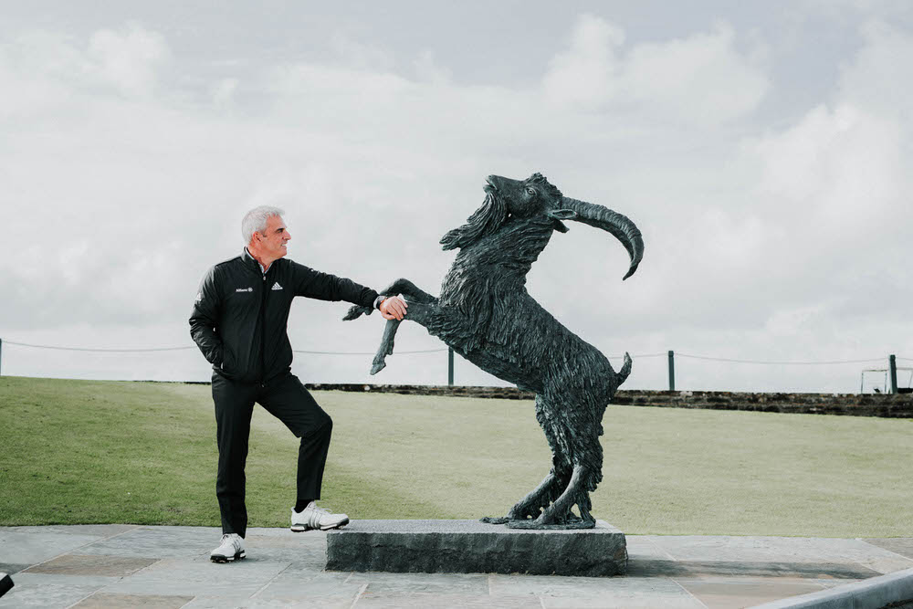 Ex Ryder Cup Captain Paul McGinley pictured with the Goat Statue at the Legends Day , the past South of Ireland Champions Celebration Day, at Lahinch Golf Club, Clare on Monday.