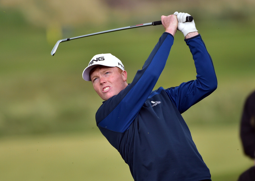 Robin Dawson (Tramore) pitching to the 18th green to win the Flogas Irish Amateur Open Championship at Royal County Down. Picture by  Pat Cashman