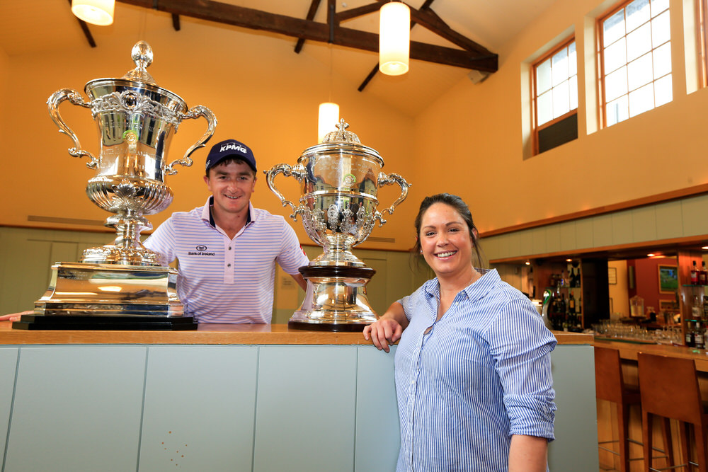100 days to go. Paul Dunne and Maria Dunne with the Espirito Santo and Eisenhower trophies — the prizes up that will be up for grabs in the World Amateur Team Championships at Carton House in August and September. Picture: Golffile | Fran Caffrey