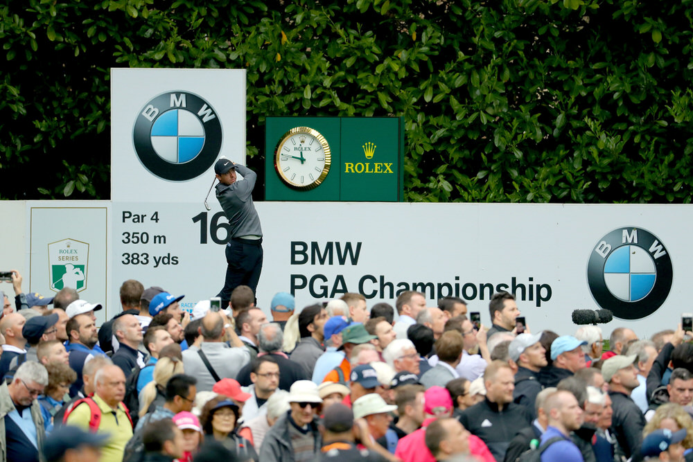 Rory McIlroy of Northern Ireland tees off on the 16th during day two of the BMW PGA Championship at Wentworth. Photo by Warren Little/Getty Images