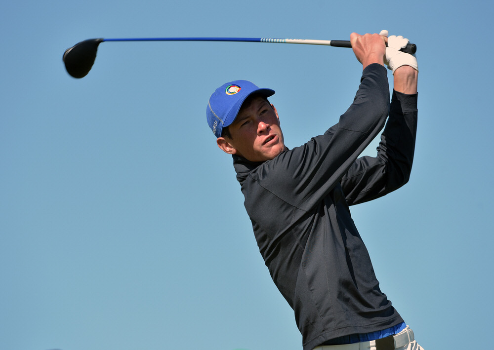 Christo Lamprecht (South Africa) driving at the 8th tee during day one of the Flogas Irish Amateur Open Championship at Royal County Down Golf. Picture by  Pat Cashman