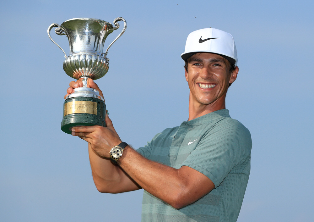 Thorbjorn Olesen of Denmark poses with the Italian Open trophy after victory in the competition during the final round of the Italian Open at Gardagolf Country Club on June 3, 2018 in Brescia, Italy. Photo by Andrew Redington/Getty Images