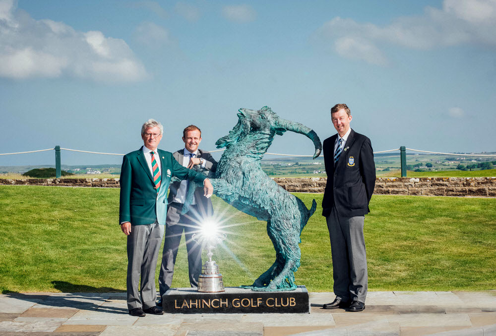 (L-R): Kevin O'Keeffe (Captain, Lahinch Golf Club), Gary Pierse (Managing Director, Pierse Motors) and Jim Long (Chairman Munster Branch GUI) with the South of Ireland trophy and Lahinch's famous goat.