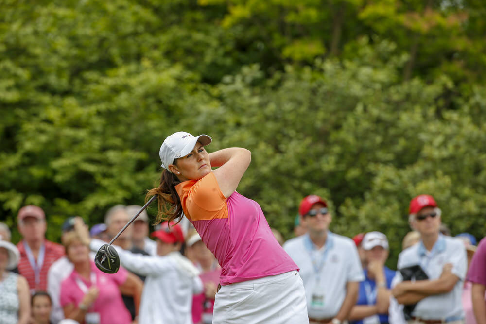 Olivia Mehaffey playing her tee shot to start the singles matches of the 2018 Curtis Cup at Quaker Ridge Golf Club in Scarsdale, N.Y. on Sunday, June 10, 2018.  (Copyright USGA/Steven Gibbons)