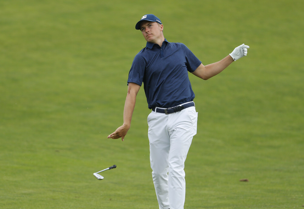Jordan Spieth drops his club after his second shot on the 12th hole during the second round of the 2018 U.S. Open at Shinnecock Hills Golf Club in Southampton, N.Y. on Friday, June 15, 2018.  (Copyright USGA/Darren Carroll)