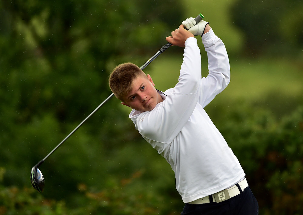 Josh Black (Ulster) driving at the 13th tee during the final day of the Boys (Under 16) Interprovincial Matches at Blarney Golf Resort (27/07/2017). Picture by  Pat Cashman
