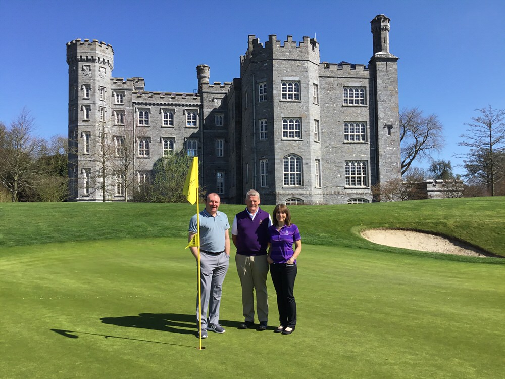 Killeen Castle captains Frank Donegan and Carol Pearson with Dublin Journalists Golf Society captain Denis Kirwan