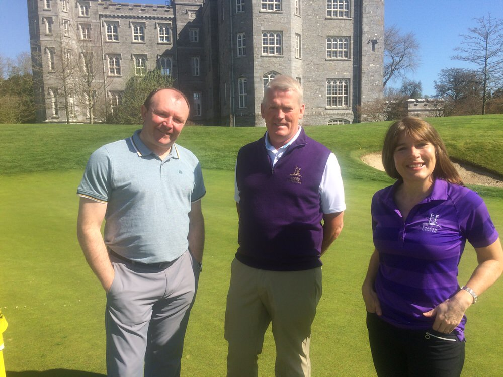 Killeen Castle captains Frank Donegan and Carol Pearson added their support to the DJGS charity day which will benefit their chosen charity, the Ronald McDonald House project.