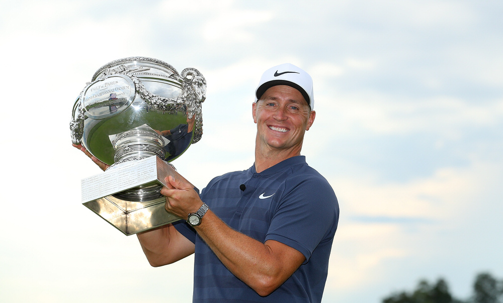 Alex Noren of Sweden celebrates with the trophy after winning the HNA Open de France at Le Golf National on July 1, 2018 in Paris, France. (Photo by Warren Little/Getty Images)