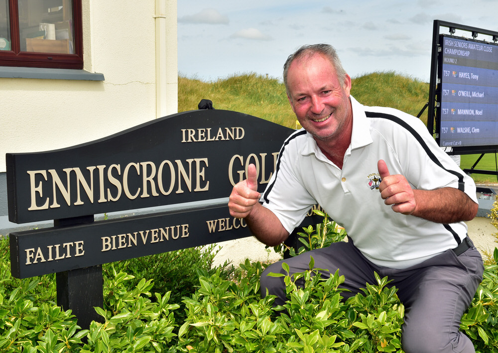 Noel McGrane (Royal Dublin) after shooting a course recond 66 in the second round of the 2018 Irish Seniors Amateur Close Championship at Enniscrone Golf Club today (05/07/2018). Picture by  Pat Cashman