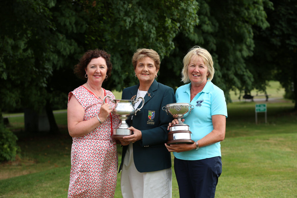 Suzanne Corcoran (Portumna) winner of the Irish Senior Womens Close Championship 2018 at Monkstown Golf Club, Cork and Joan Scanlon (Newcastle West) winner of the Irish Senior Women's Close Plate (Shirley Mac Donald Trophy) with Vonnie Noonan, President of the ILGU.