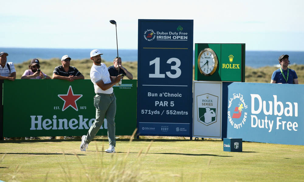 Erik Van Rooyen of South Africa tees off on the 13th hole during the second round of the Dubai Duty Free Irish Open at Ballyliffin Golf Club on July 6, 2018 in Donegal. Photo by Jan Kruger/Getty Images
