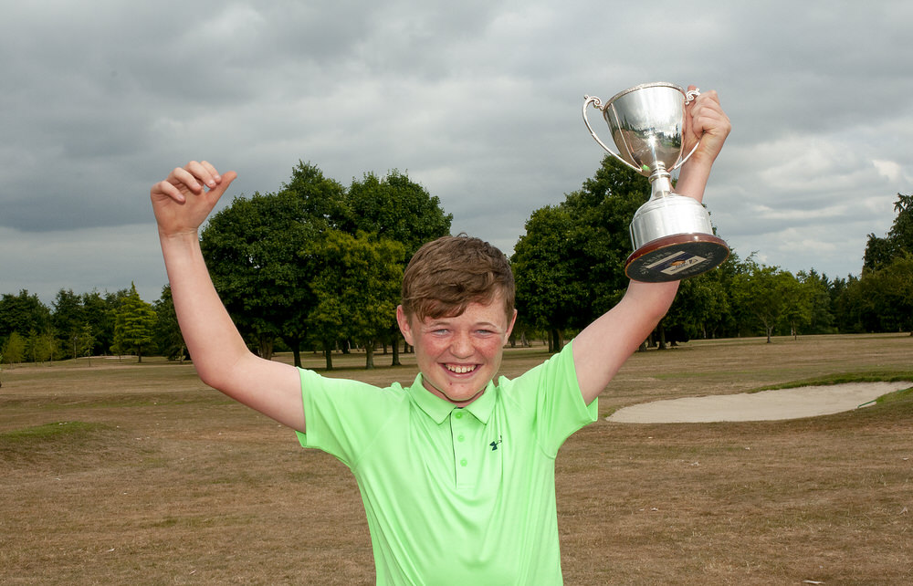 Faithlegg's winner Alex King shows off the Leinster Boys Under 14 Amateur Open trophy following his win at Kilkenny Golf Club. Photo:  Ronan Quinlan/Cashman Photography
