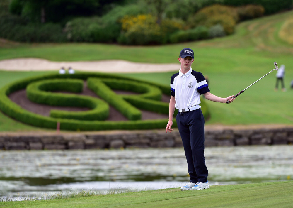 Aideen O'Carroll (Leinster) reacts to a missed putt on the 12th green during the opening day of the Boys (Under 14) Interprovincial Matches at Slieve Russell Golf Resort. Picture by  Pat Cashman