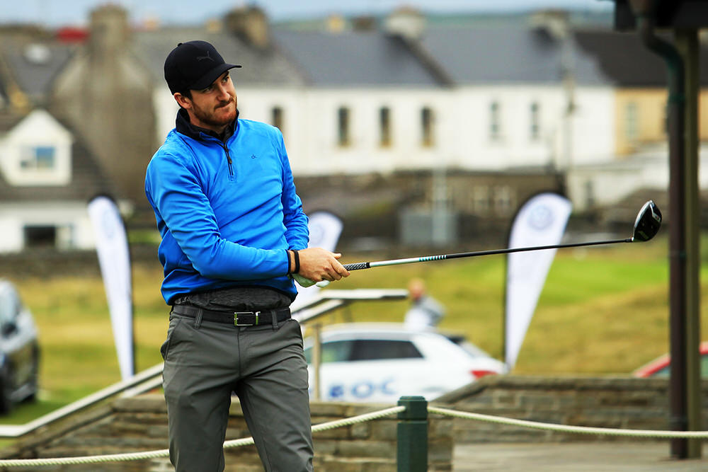 John Hickey (Cork) teeing of in the third round of the South of Ireland Championship at Lahinch.  Saturday 28th July 2018.