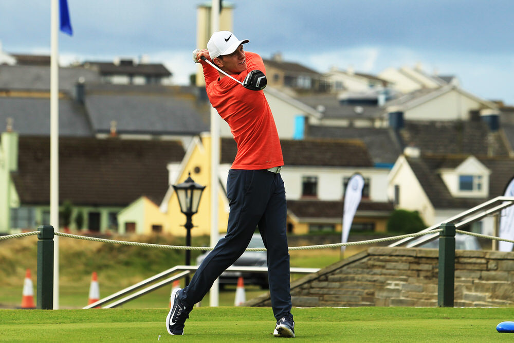 Rowan Lester (Hermitage) teeing of in the third round of the South of Ireland Championship at Lahinch.  Saturday 28th July 2018.Picture: Niall O'Shea