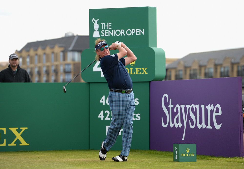 ST ANDREWS, SCOTLAND - JULY 28:  Miguel Angel Jimenez of Spain plays his first shot on the 4th tee during Day Three of The Senior Open Presented by Rolex at The Old Course on July 28, 2018 in St Andrews, Scotland.  (Photo by Tony Marshall/Getty Images)