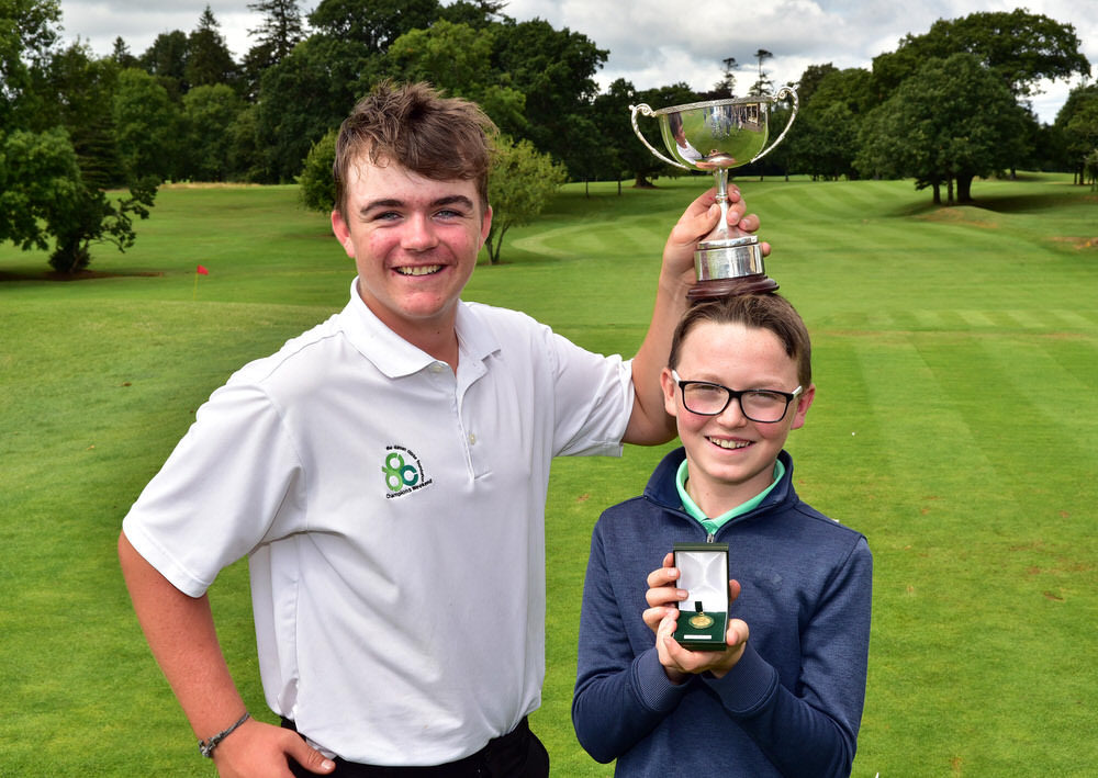 Winner Daniel Mulligan (Laytown & Bettystown) with Runner up and Under 13 winner Fionn Dobbin (Balmoral) at the 2018 Irish Boys Under 14 Amateur Open Championship at Mullingar Golf Club today (03/08/2018). Picture by Pat Cashman