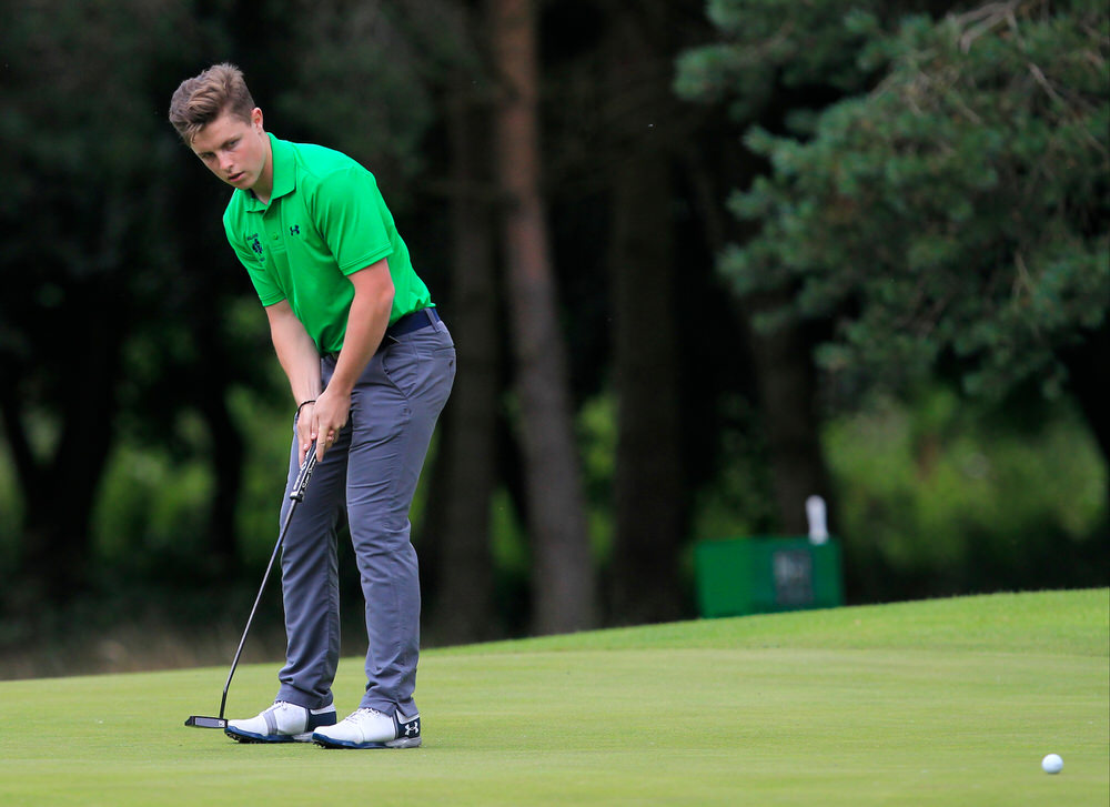 Conor Purcell (Ireland) on the 17th green during the Home Internationals at Moortown in 2017. Picture: Golffile | Thos Caffrey